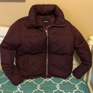 Express maroon puffer jacket